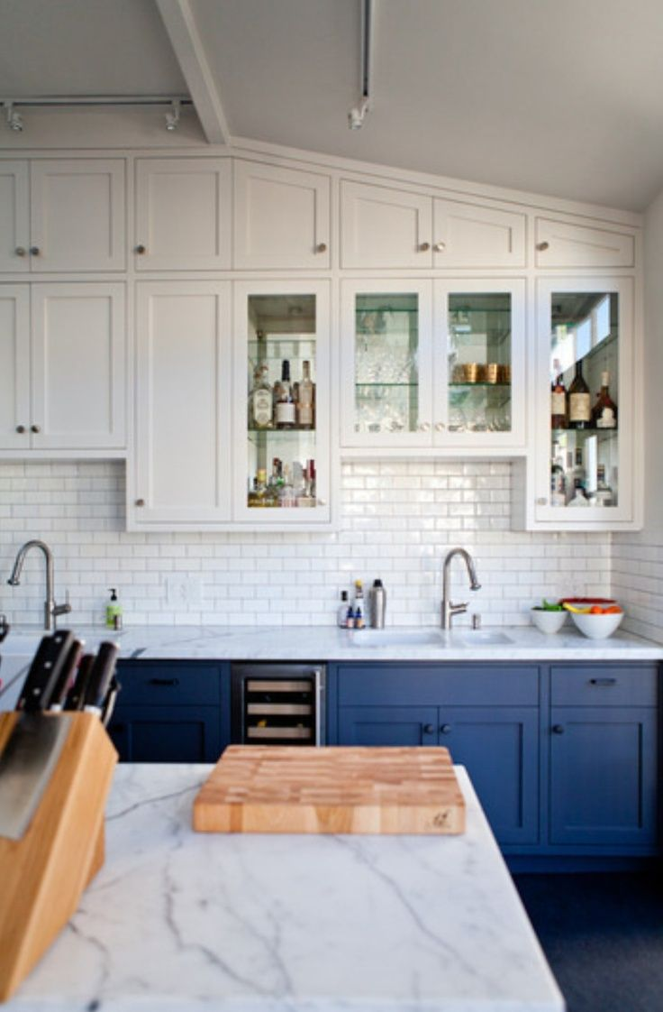 Go Halfsies in Your Kitchen with Bi Colored Cabinets   Blue gray ...