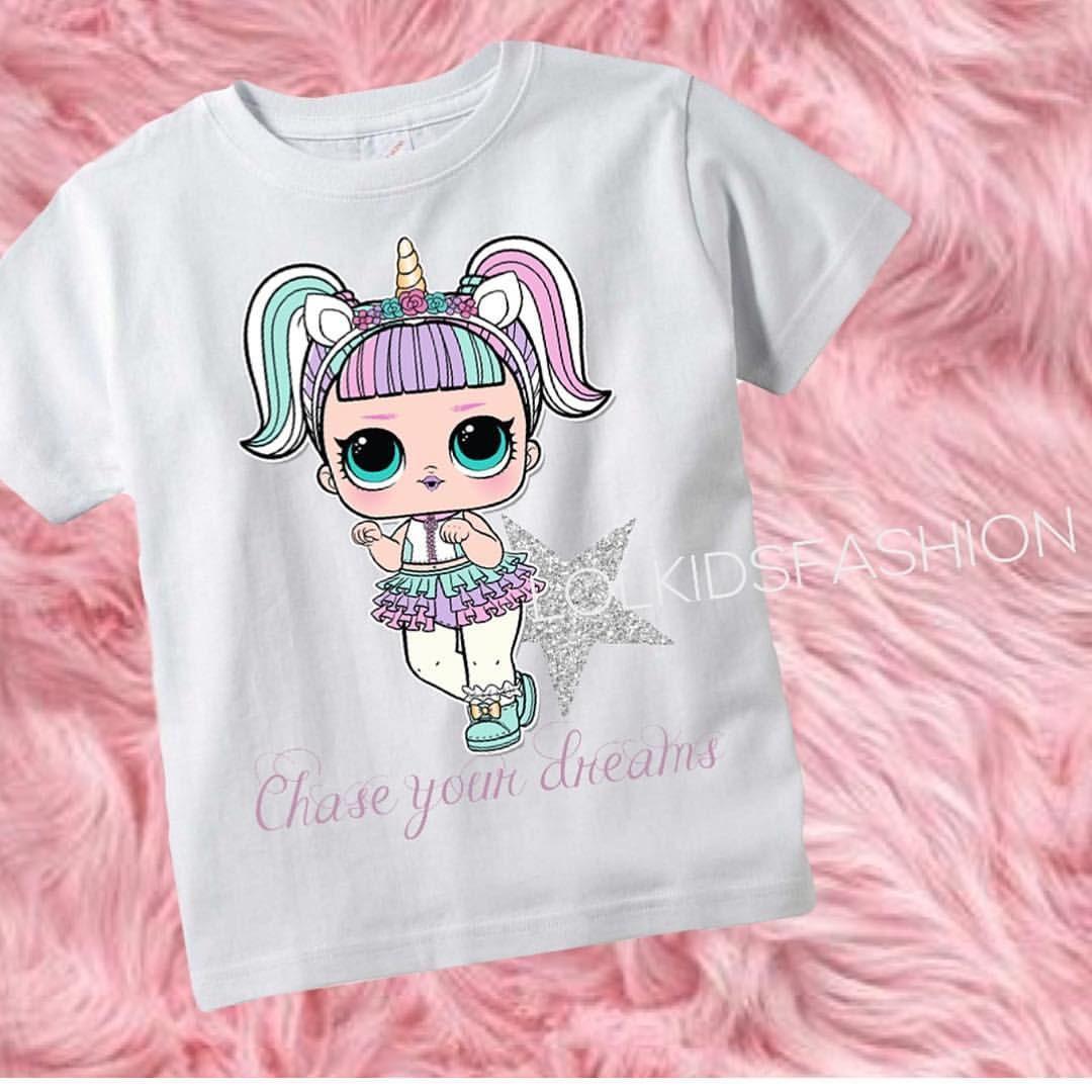 LOL Bambola UNICORNO Personalizzato T-Shirt Compleanno Bambina Buon Compleanno