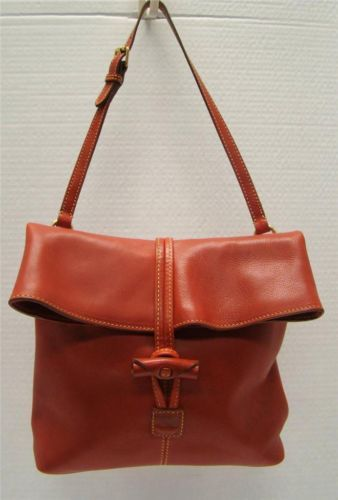 Dooney Bourke Red Florentine Leather Medium Foldover Toggle Crossbody Handbag Ebay