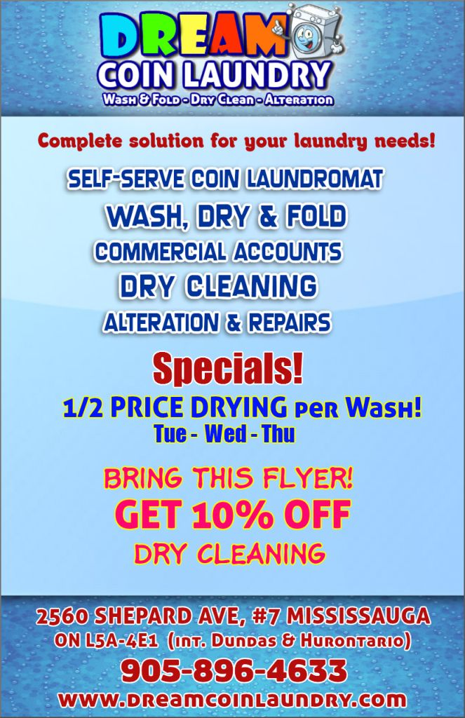 Coupons And Specials  Dream Coin Laundry Mississauga Hurontario