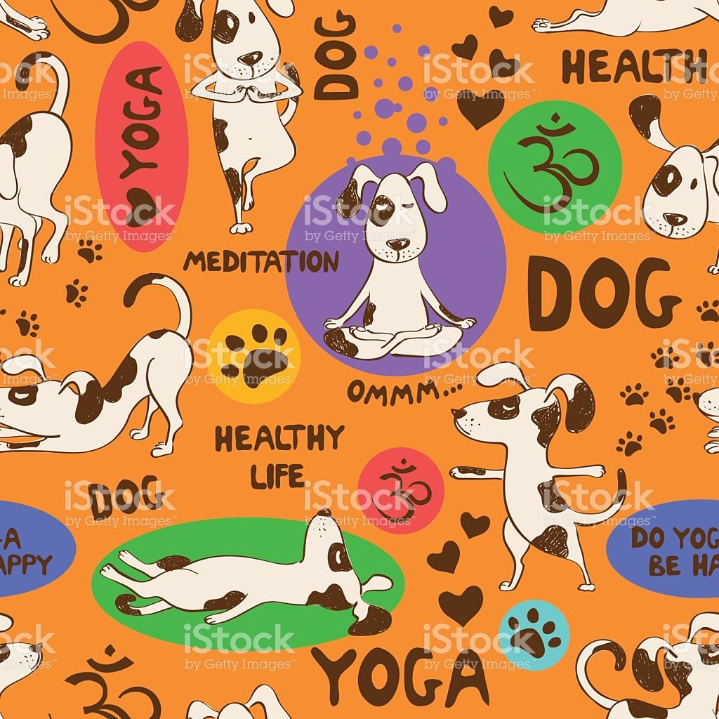Funny Seamless Pattern With Cartoon Dog Doing Yoga Position On An Dog Doing Yoga How To Do Yoga Seamless Patterns