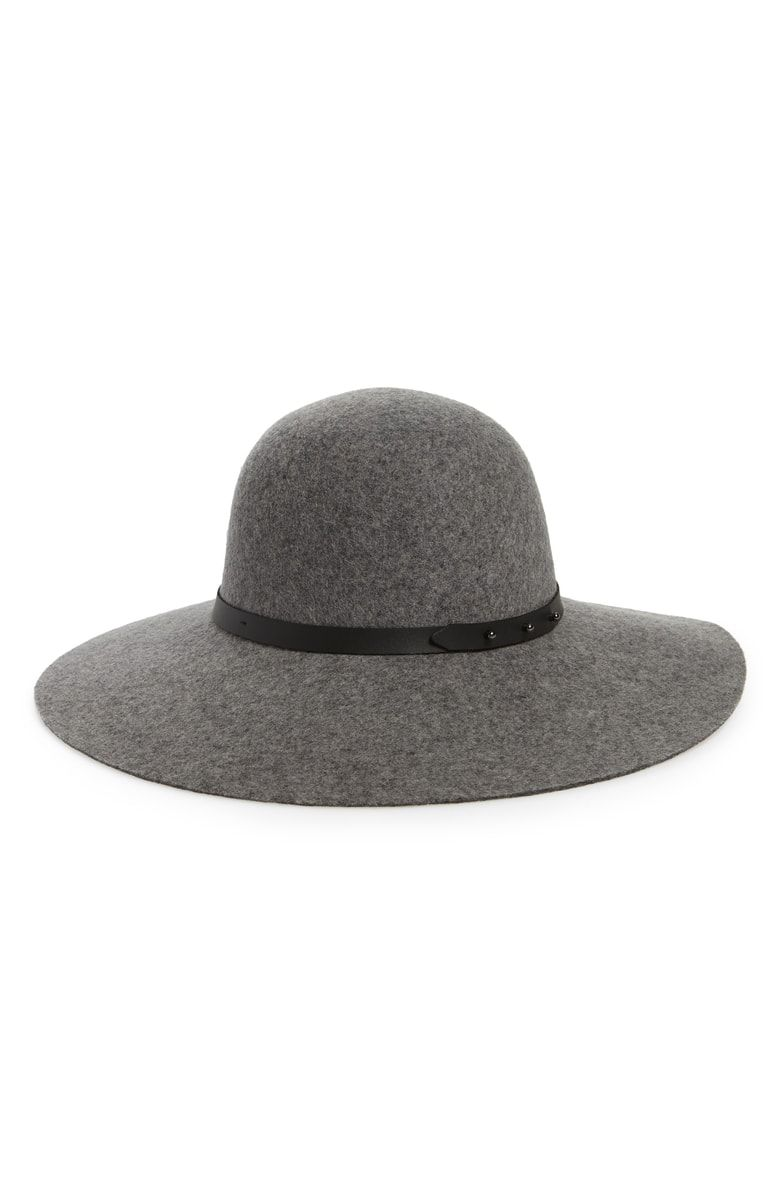 eaafeaef Refined Wide Brim Wool Floppy Hat, Main, color, Grey Light Heather ...