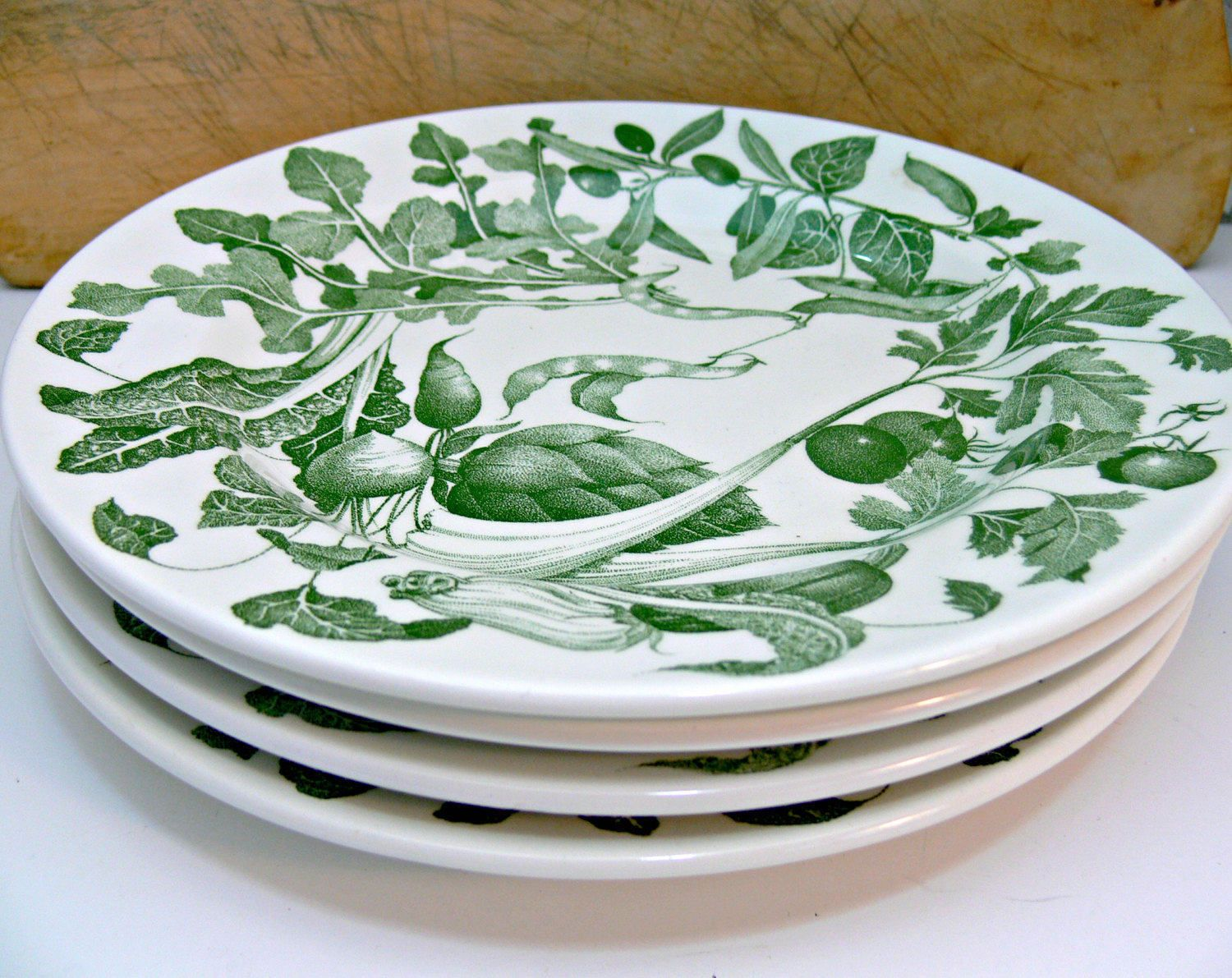 La Primula S.R.L. Ceramica Quadrifoglio Dinner Plates - Set of 4 10-inch Vintage Dinner Ware - Green \u0026 White & La Primula S.R.L. Ceramica Quadrifoglio Dinner Plates - Set of 4 10 ...