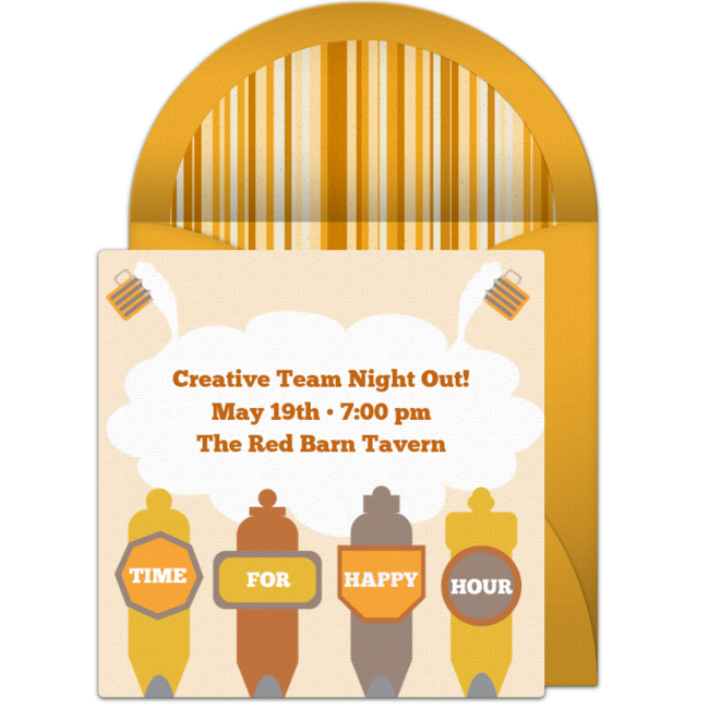 Free Happy Hour Beer Taps Invitations