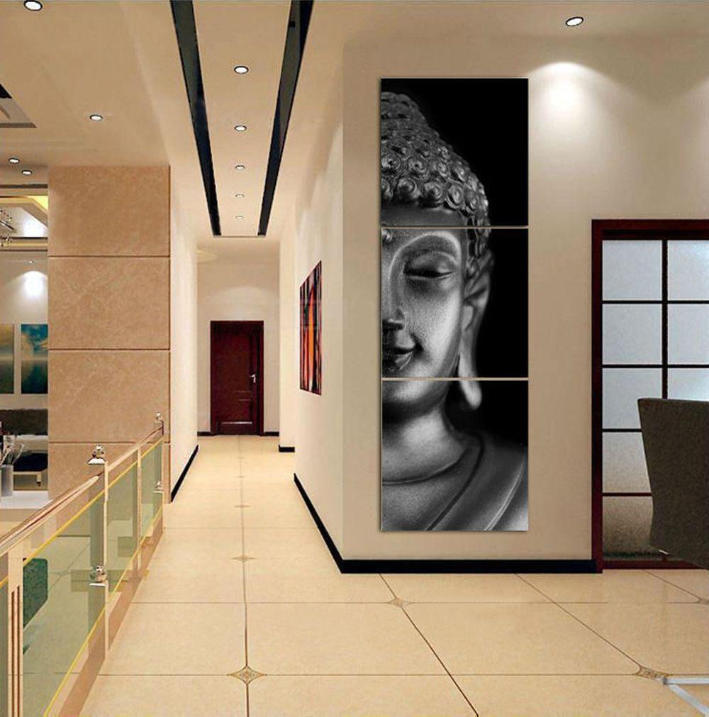 3 Painel De Parede Arte Moderna Buda Pintura Imprimir Imagem Na Lona  -> Arte Parede Sala