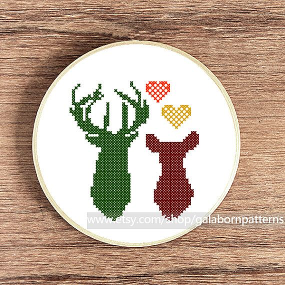 Deers in love, PDF counted cross stitch pattern, Deer cross stitch, Cross stitch…