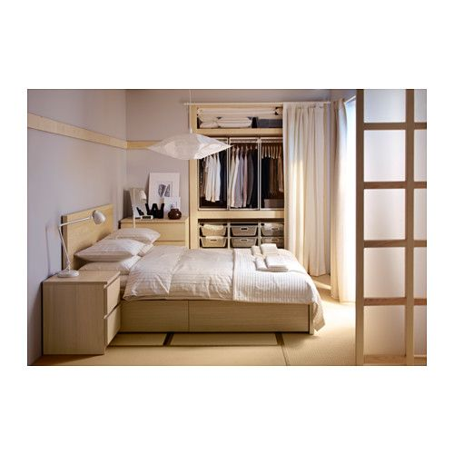 malm bettgestell hoch mit 4 schubladen eichenfurnier wei lasiert malm schubladen und ikea. Black Bedroom Furniture Sets. Home Design Ideas
