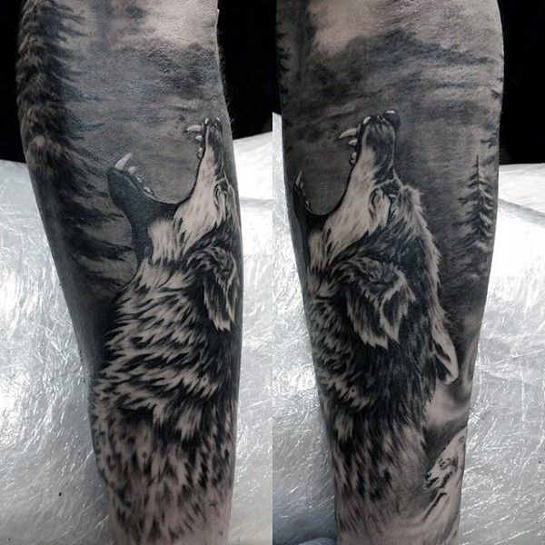 realistic 3d shaded male howling wolf forest tattoo sleeve wolf tattoos pinterest. Black Bedroom Furniture Sets. Home Design Ideas
