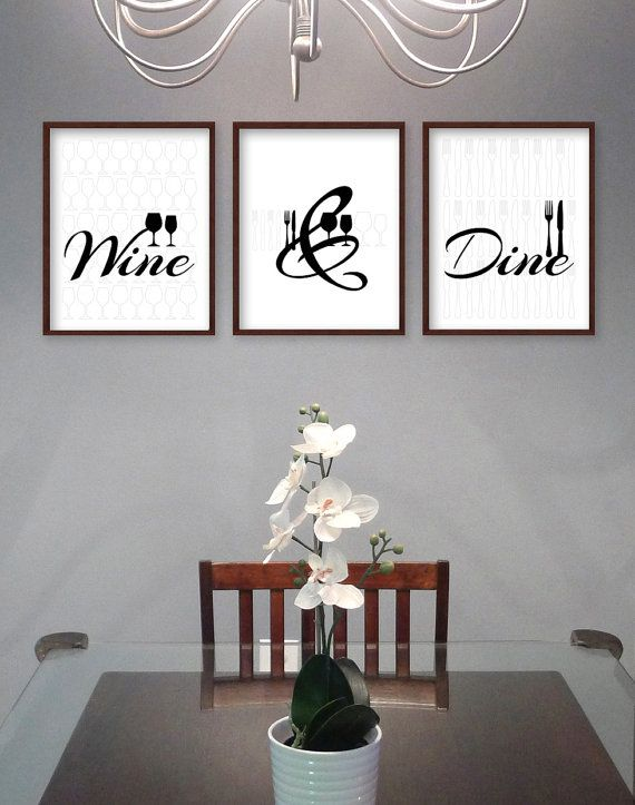 Dining Room Prints Dining Room Art Kitchen Prints Kitchen Art Wine Dine Glass Cutlery Set Of 3 Black And White Food And Drink Dining Room