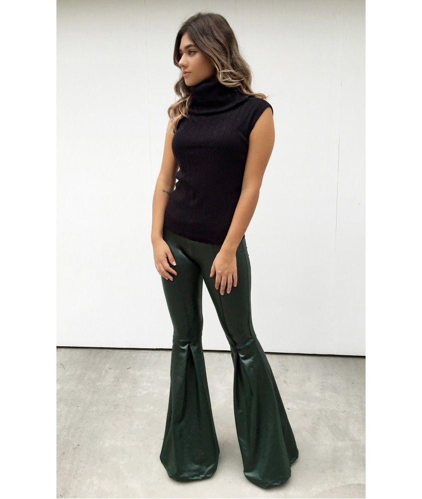 cf31e06e1 Calça Maxi Flare Cirrê Militar | Leather/ latex/leggings | Calça ...