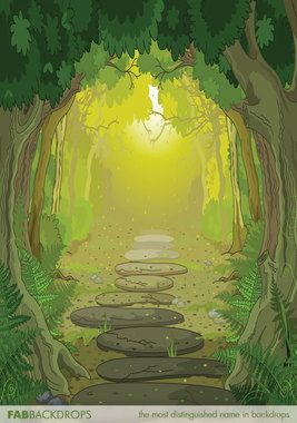 Cartoon Forest Pathway Backdrop Fantasy Landscape