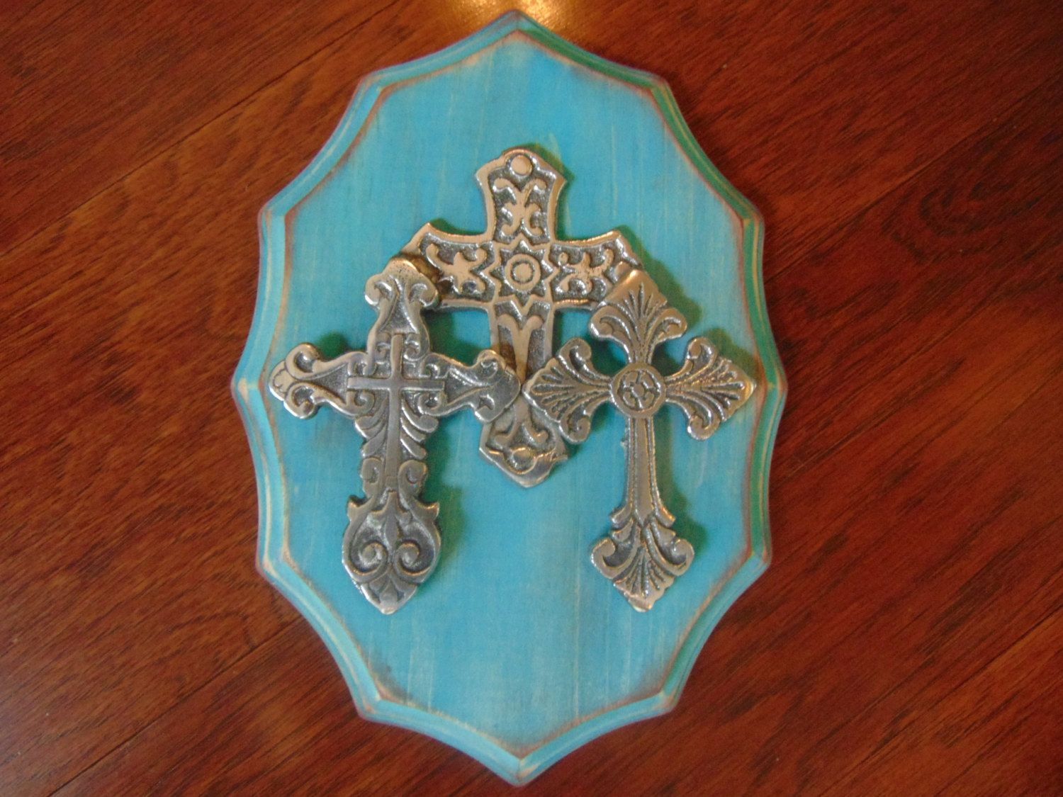 Wood Cross Turquoise Wall Distressed Chic Decor By Silverjewelsbycindy On Etsy