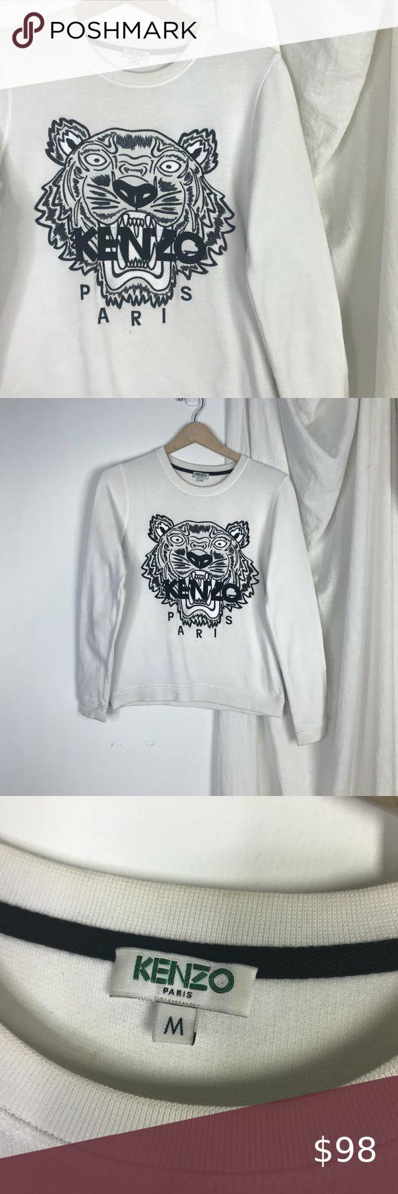 Kenzo Paris White Tiger Embroidered Sweatshirt Embroidered Sweatshirts Sweatshirts Kenzo Sweatshirt [ 1740 x 580 Pixel ]