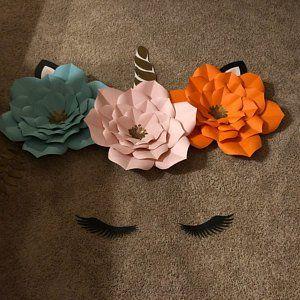 Paper Flower DIY, Paper Flower Cut File, Unicorn SVG, Wedding Flowers, Paper Flower Tutorial, Unicorn Backdrop, Unicorn Decorations, Flowers #giantpaperflowers