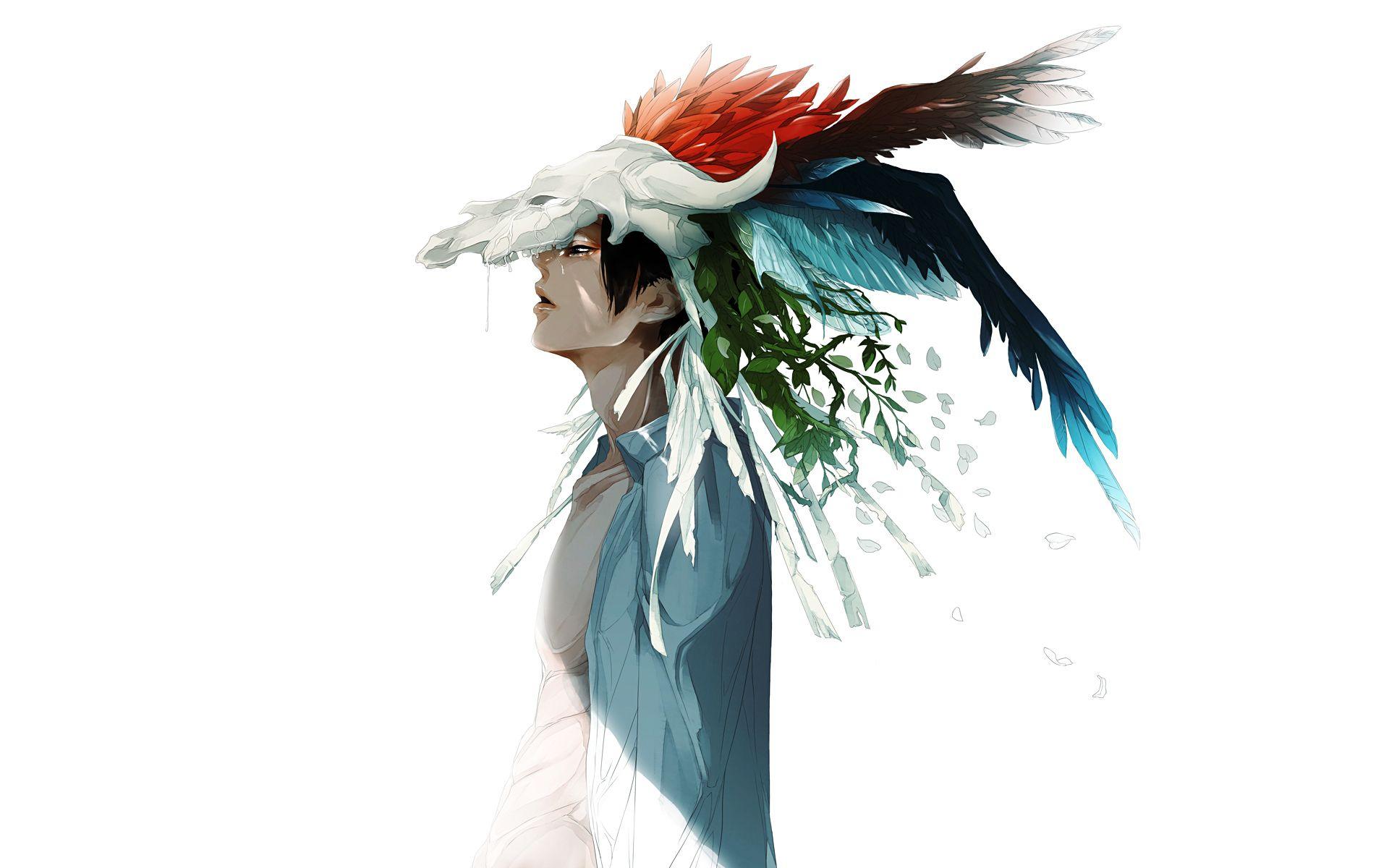 animeboycoolfeathersadnessartwatercolorwallpaper