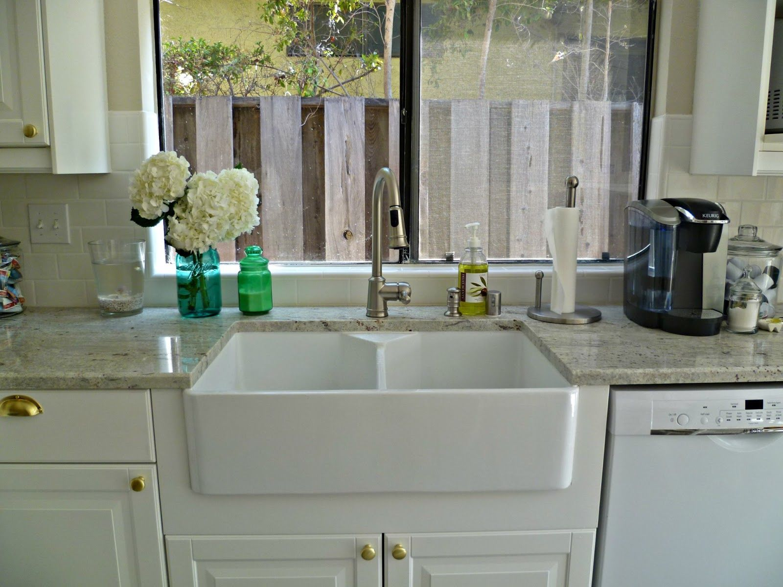 Grey Granite Countertop Connected By Rectangle White Sinks And