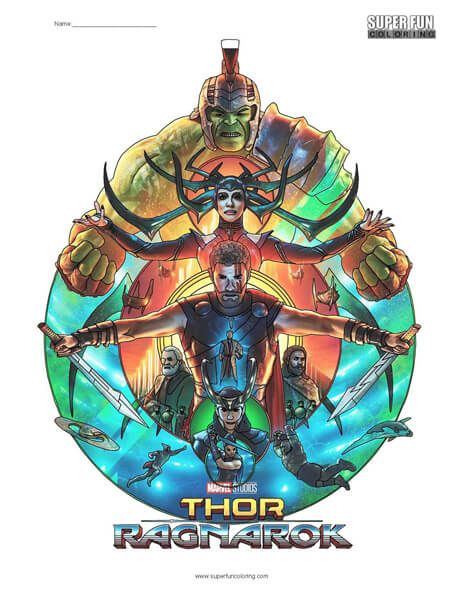 Thor Ragnarok Coloring Page Coloring Squared Cool