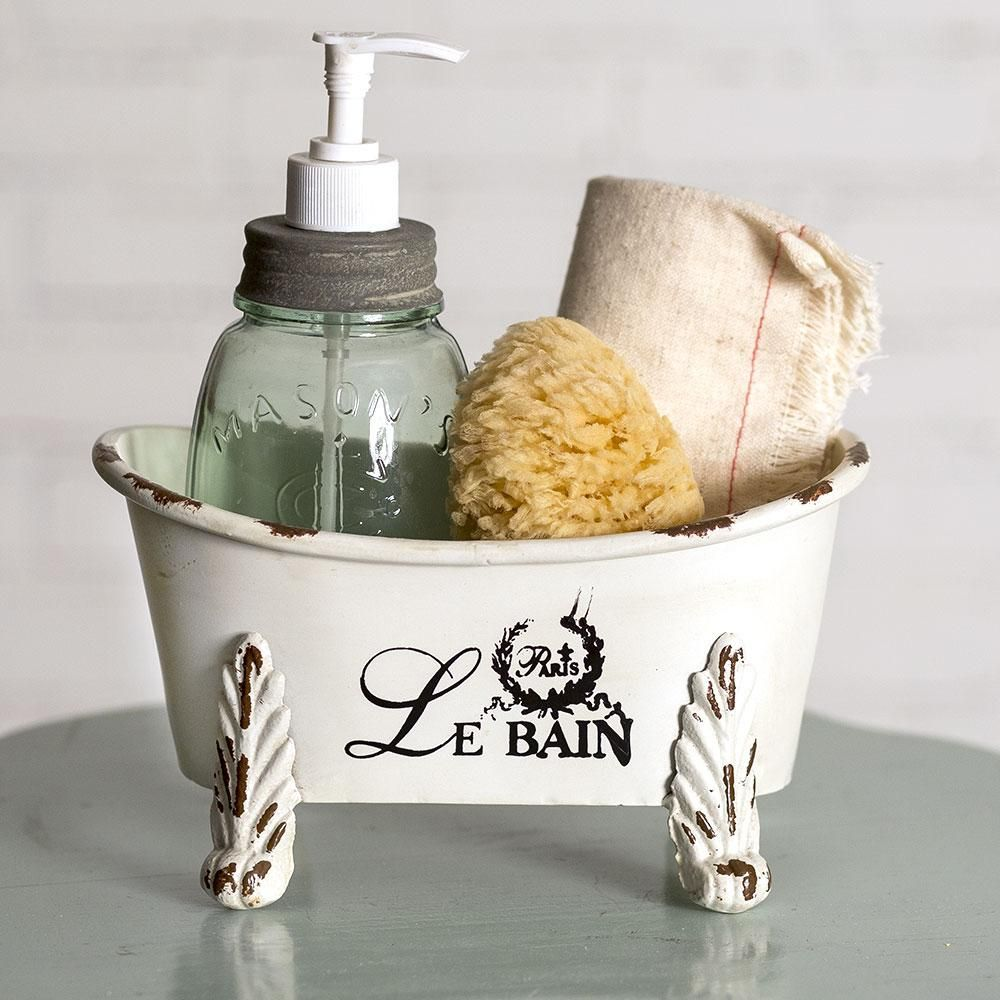 Mini Clawfoot Bathtub Primitive Bathrooms French Country Bathroom Bathtub Storage