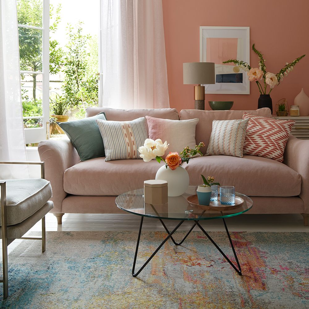 Best Coral Blush Pink Living Room With Hints Of Taupe And Blue 400 x 300
