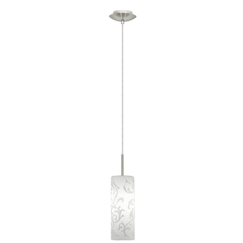 Hanging Pendants - 2091-002 Single pendant, white pattern glass