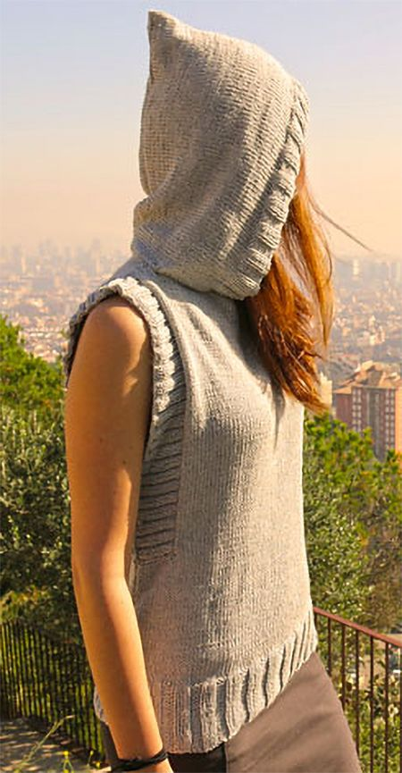 Free Knitting Pattern For Vest With Hood Easy Vest Knit Out Of
