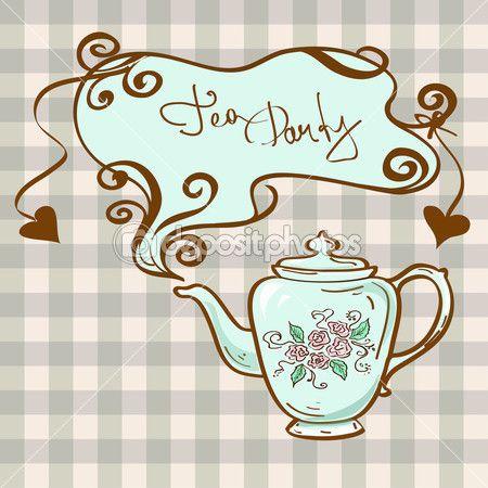 Tea-Party-Einladung mit Teekanne — Stockilllustration #38628475