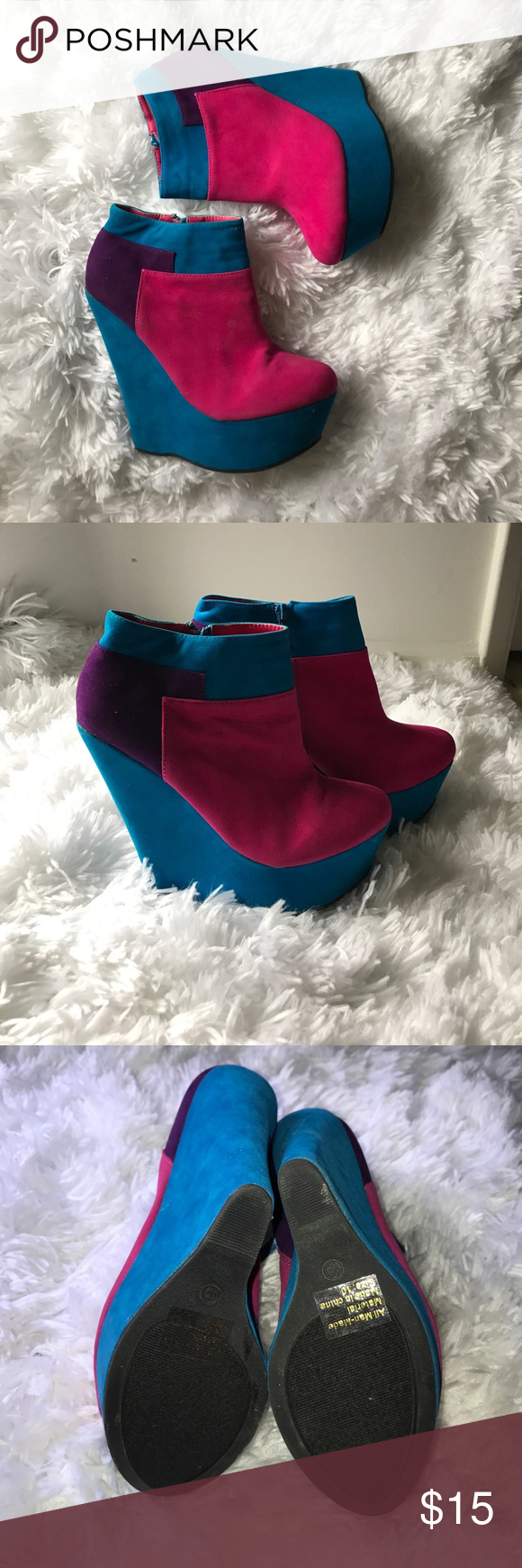 63375b66395 Colorful Wedge boots Block Wedge Heel Bootie Kiss   Tell Shoes Wedges