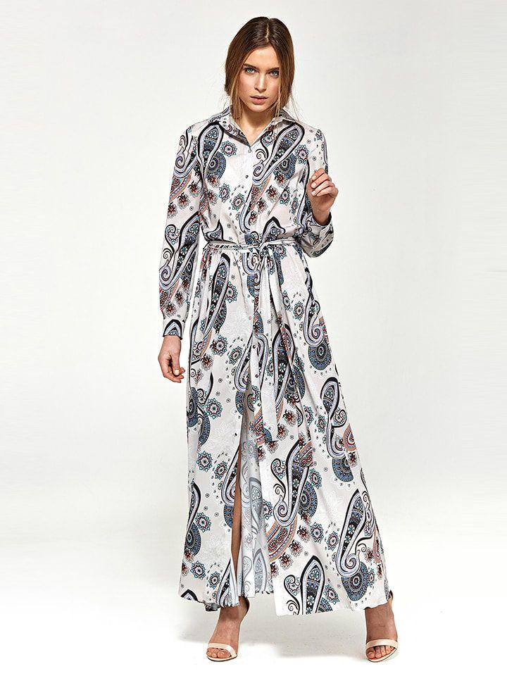 Kleid in Creme/ Dunkelblau in 2020   Lange kleider ...