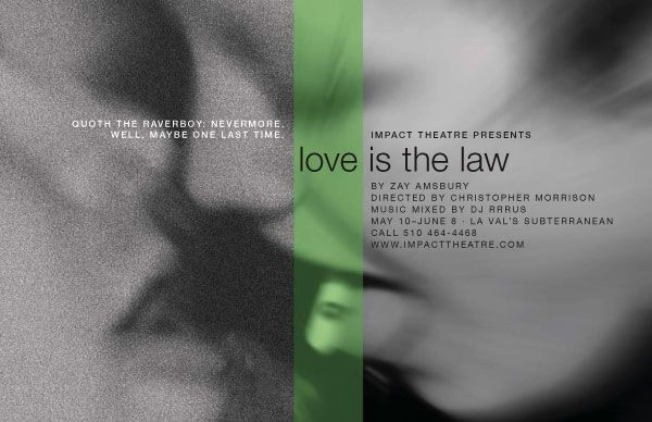 The poster for Love is the Law by Zay Amsbury. Shot and art by Josh Costello. Pictured: David Ballog and Lisa Hori-Garcia.