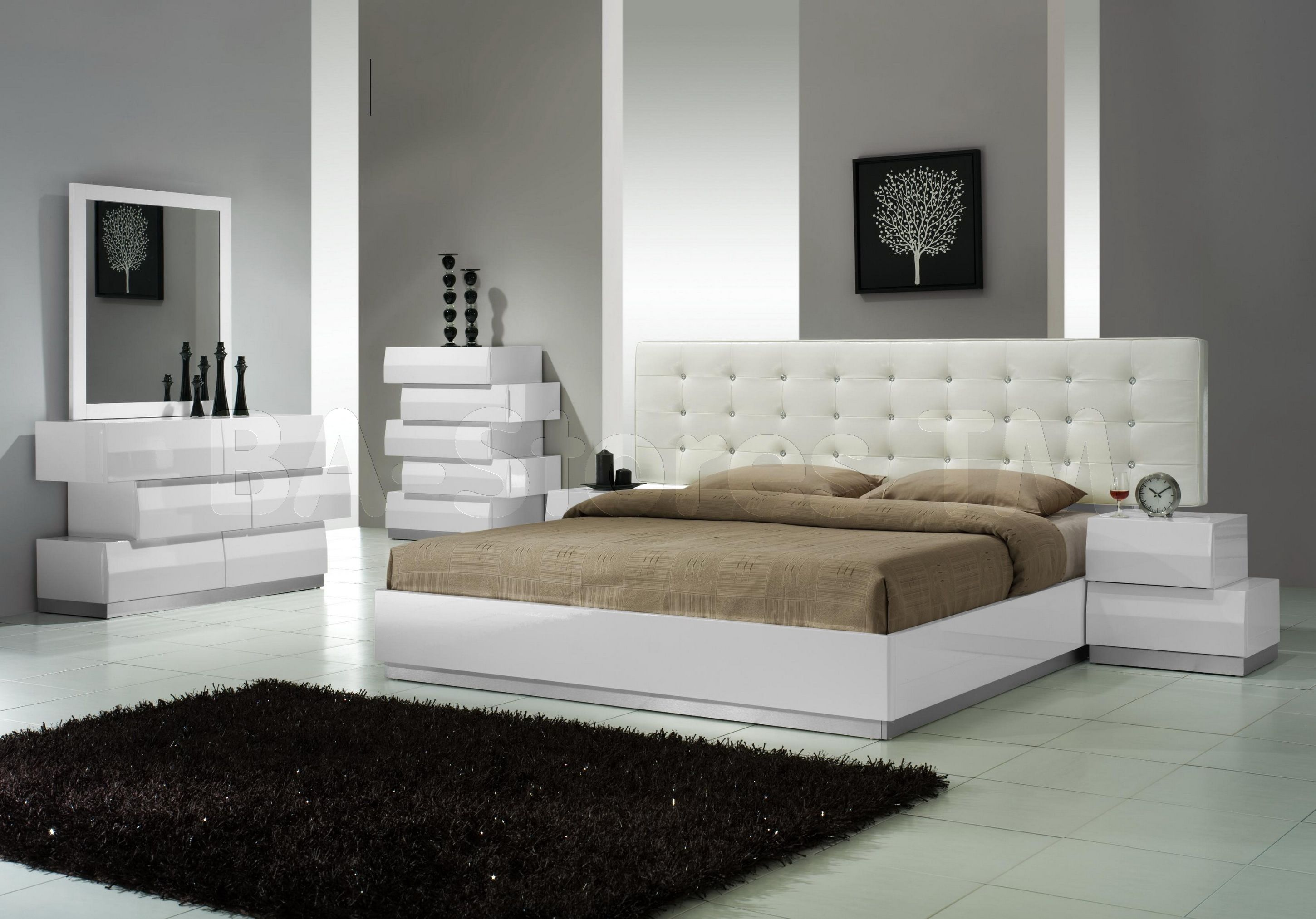 Beautiful Milan 5 PC Bedroom Set In White Lacquered Finish By Ju0026M