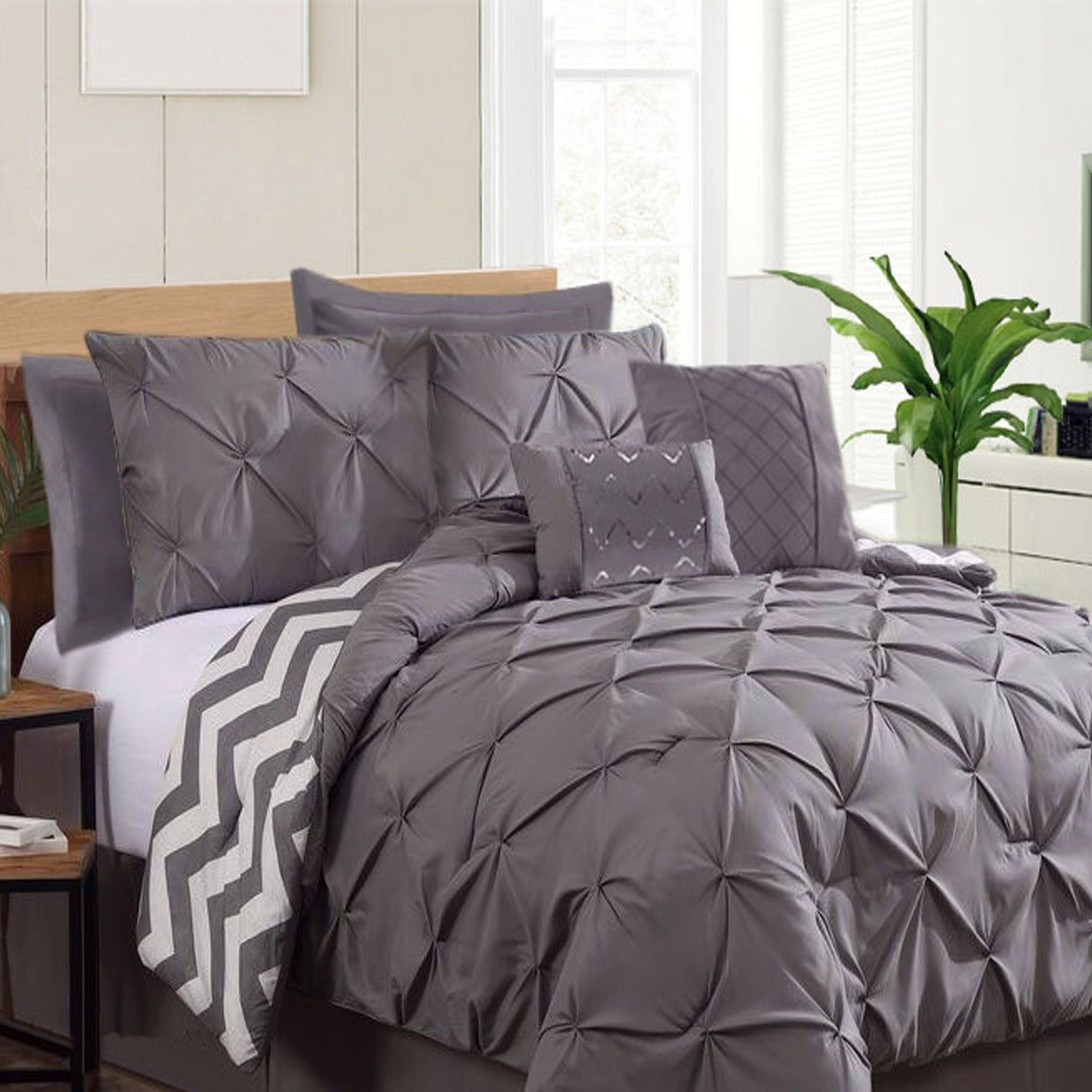 7 Piece Pinch Pleat Comforter Set Charcoal by Ramesses