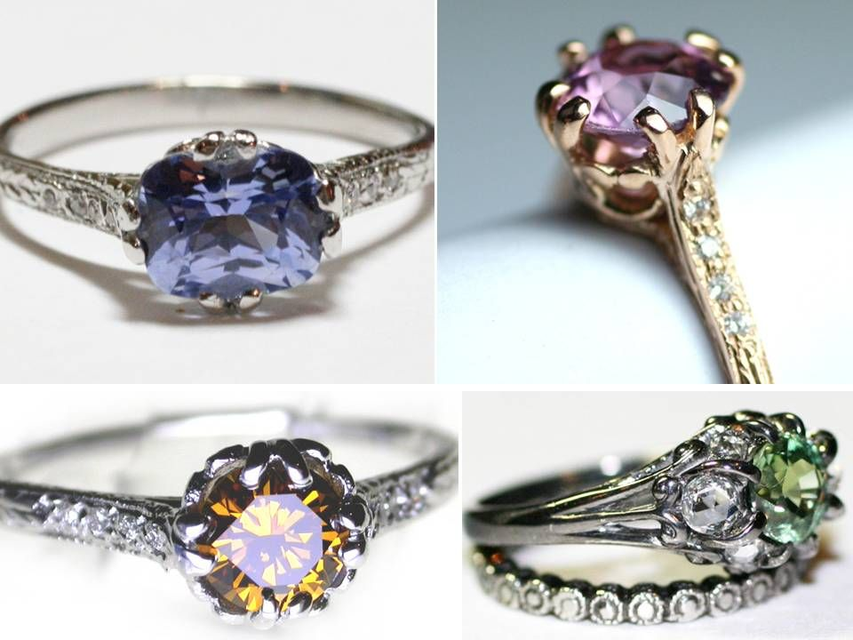 Nondiamond engagement rings featuring sapphires emeralds and