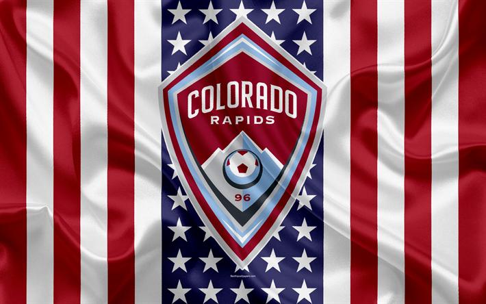 Lataa kuva Colorado Rapids, 4k, logo, tunnus, silkki tekstuuri, Amerikan lippu, jalkapallo klb, MLS, Denver, Colorado, USA, Major League Soccer, Läntisen Konferenssin