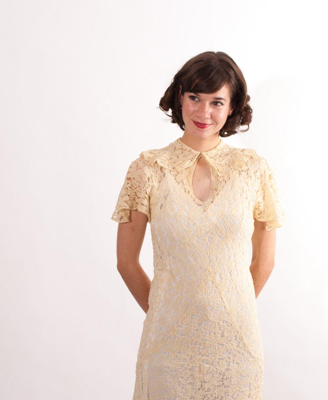 Vintage s lace dress s wedding dress ivory floral lace