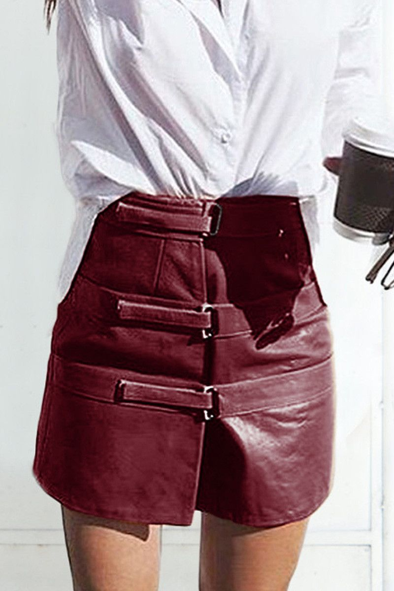 d6828406e747 shakuhachi - OUT OF AFRIKA TRIPLE STRAP LEATHER SKIRT BURGUNDY - 2 ...