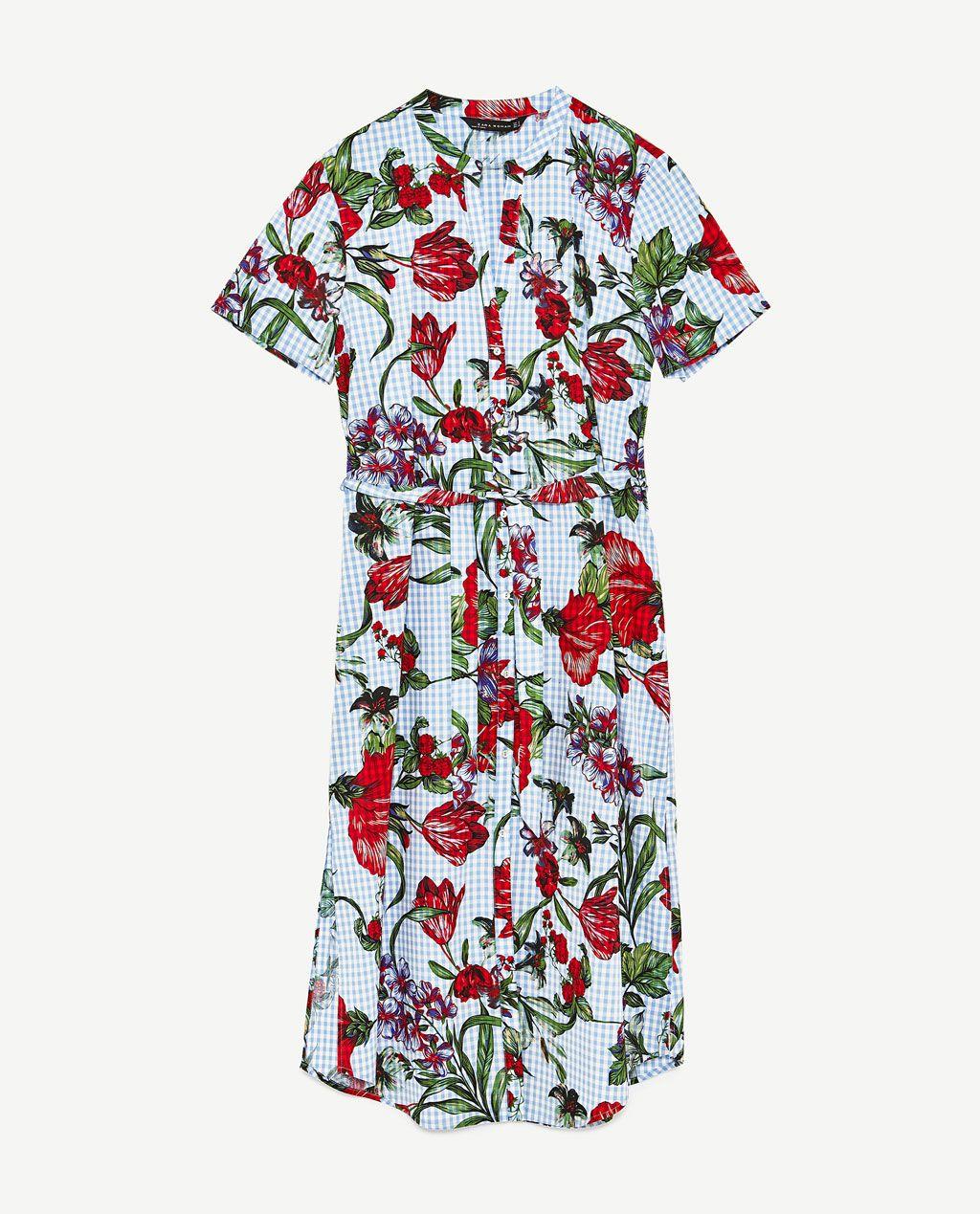 7e22c6a9210 FLORAL PRINT GINGHAM TUNIC, 100% cotton - Zara | Fashionspiration ...