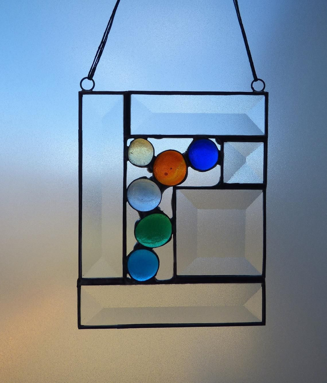 Sun Catcher With Colorful Glass Nuggets Beveled Glass Glass Wall Art Glass Window Art Stained Glass Projects