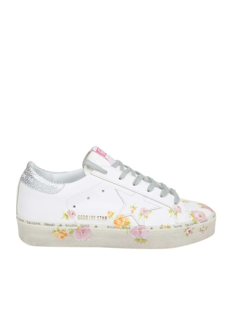 1759549b3f7a Golden Goose Hi Star Sneakers In White Leather With Floral Print - White