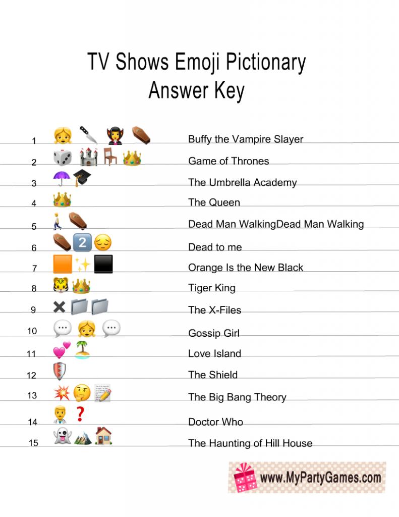 Printable Emoji Quiz With Answers : printable, emoji, answers, Printable, Shows, Emoji, Pictionary, Quiz,, Games, Kids,, Family