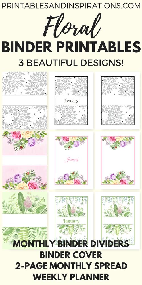free printable binder dividers and binder covers floral binder