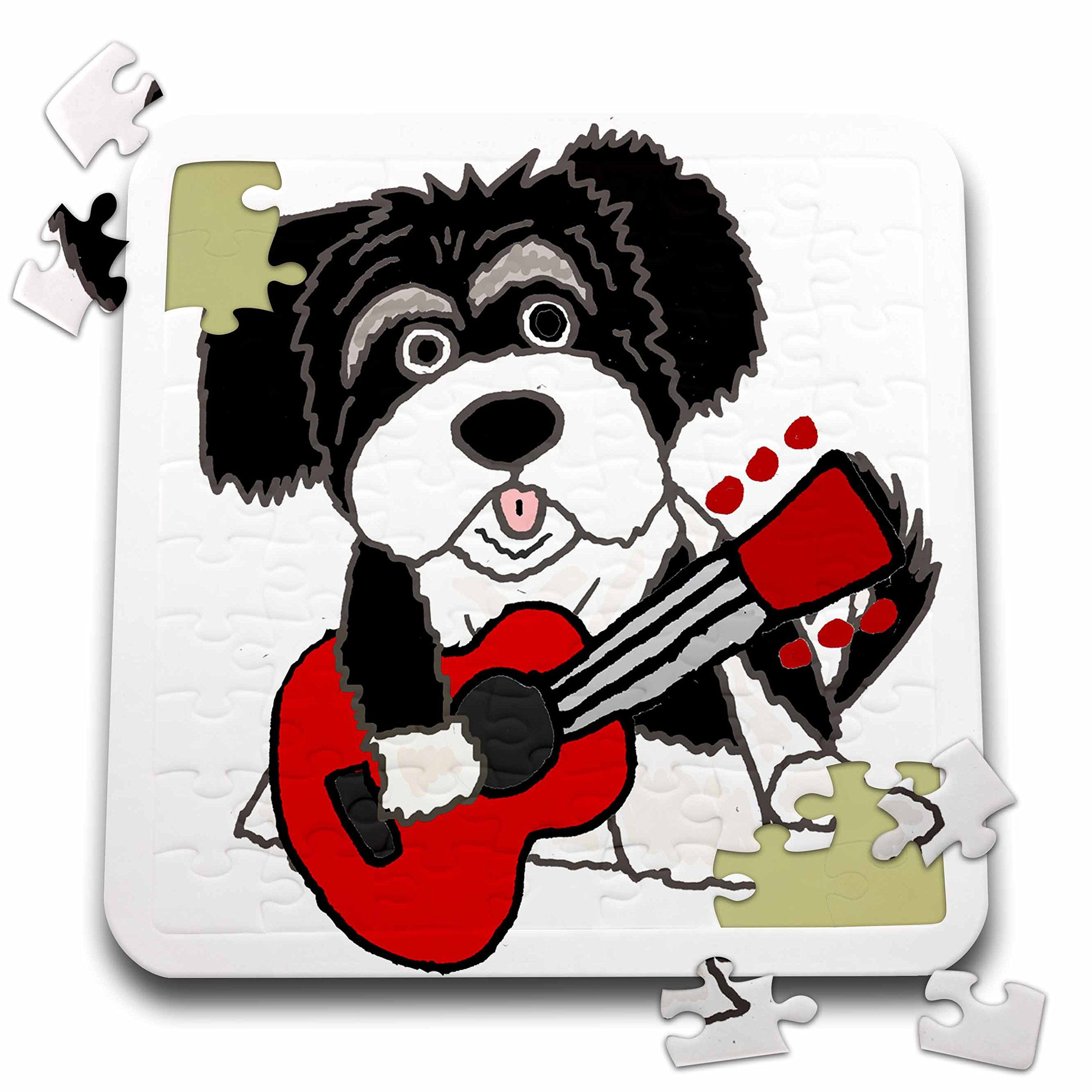 345a1945990d All Smiles Art Pets Funny Cute Havanese Puppy Dog Playing Guitar Cartoon  10x10 Inch Puzzle pzl 260931 2