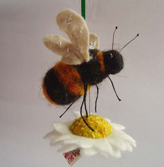 Where the Bee Sucks Needle felted Bumble Bee and by MissBumbles