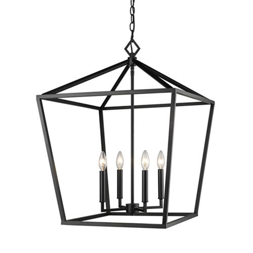 251 First Kenwood Matte Black 20 Inch Four Light Lantern Pendant