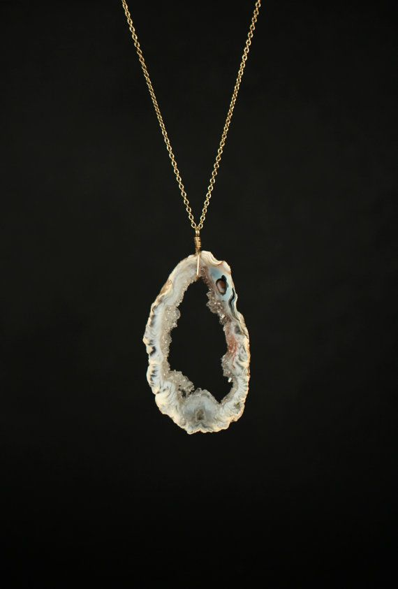 Geode necklace - druzy necklace - a pretty earth tone geode slice wire wrapped onto a 14k gold filled or sterling silver chain