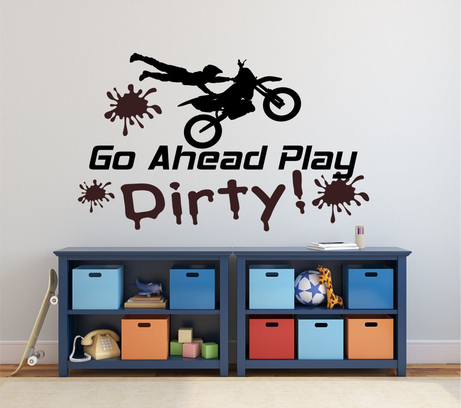 Motocross Wall Decal Dirt Bike Wall Decal Play Dirty Decal Dirt