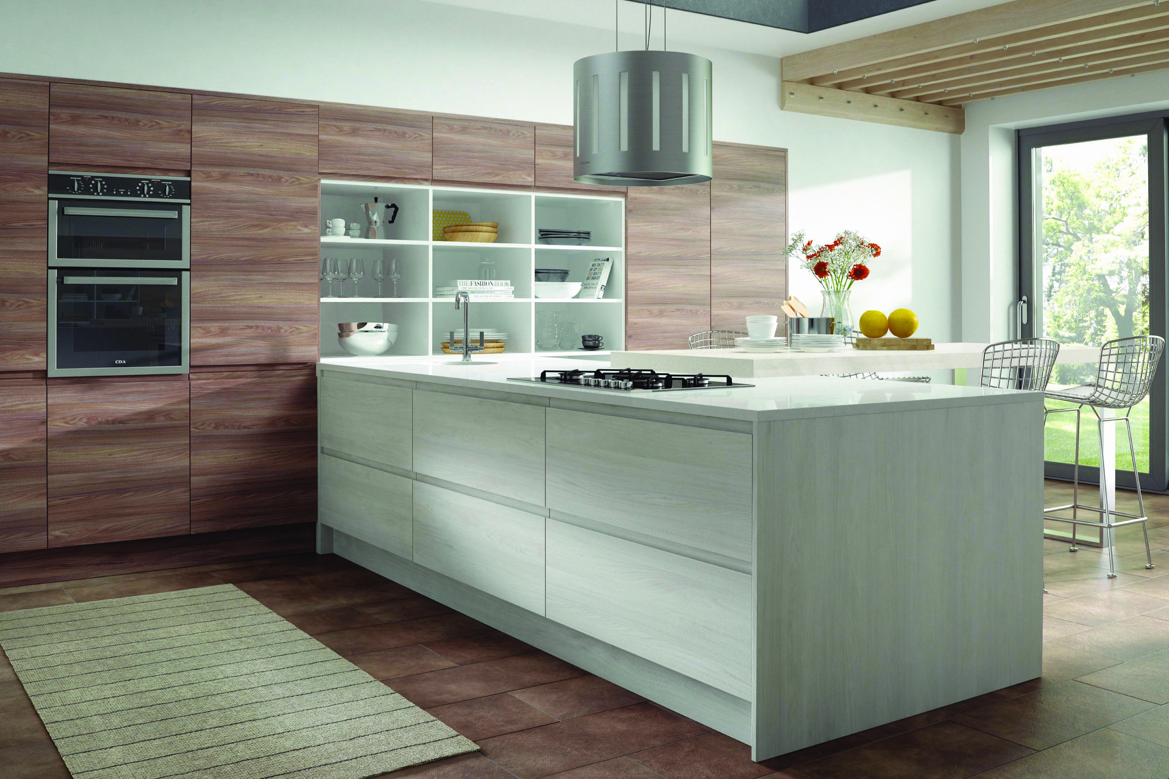 Legno Kitchen Doors From #Avanti   Stunning Coral White Decor With J Pull  Handles For