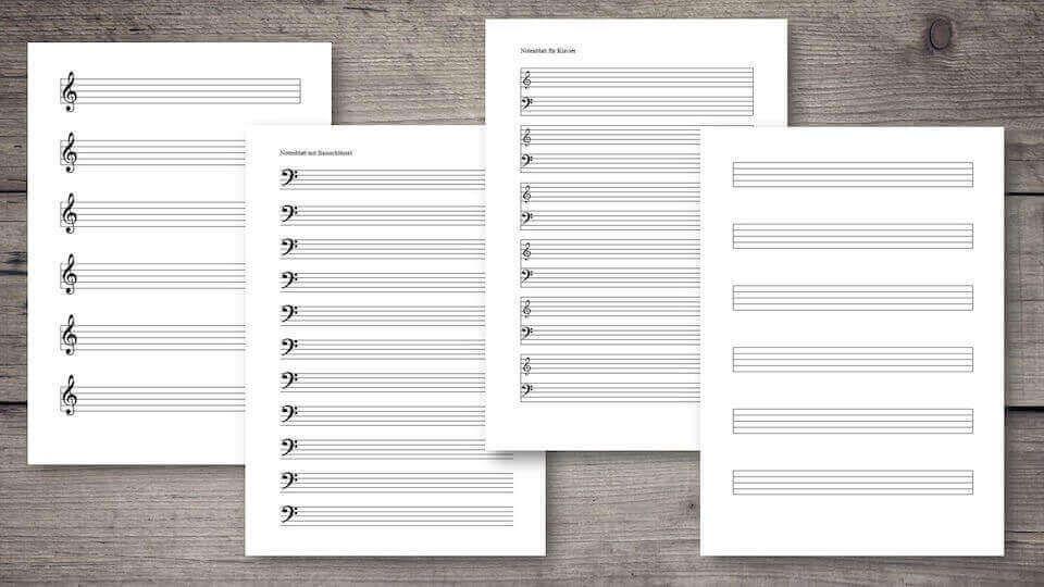 Notenpapier Mit Violinschlussel 9 Zeilen Pro Seite 8