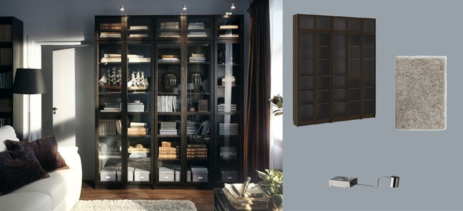 billy biblioth ques brun noir avec portes en verre tremp et grundtal clairage vitrine en acier. Black Bedroom Furniture Sets. Home Design Ideas