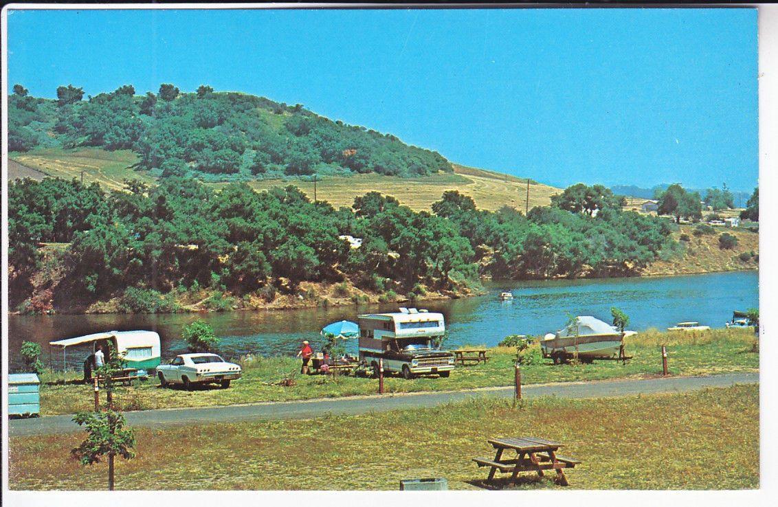 Lake Casitas Ca Ventura Co Camping Scene Cars Near Ojai Oak View Mira Monte Casitas Springs Meiners Oaks California Postcard Yellowstone Camping Oak View