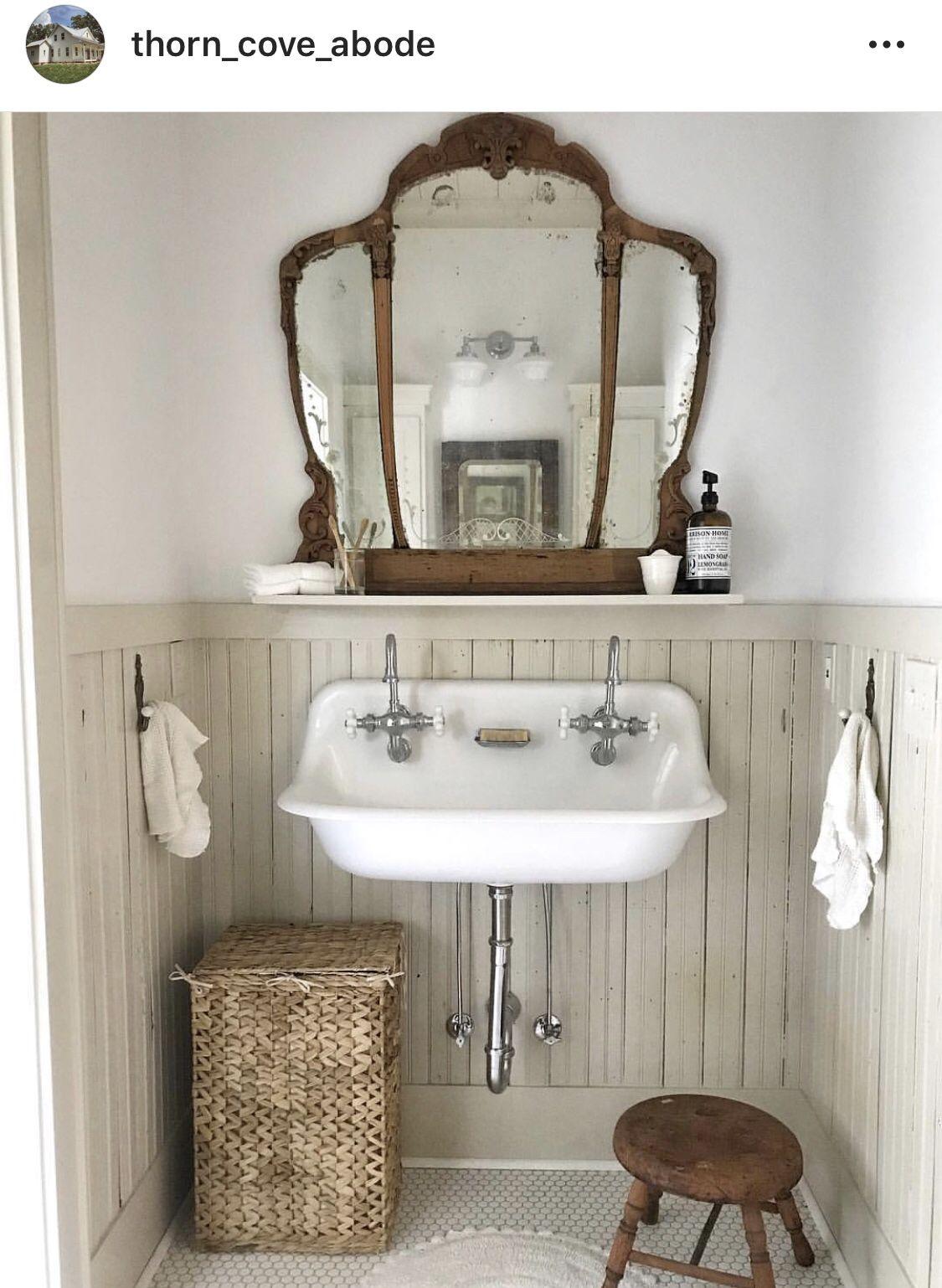 Tiny Little Farmhouse Bathroom Farmhouse Bathroom Sink Farmhouse Bathroom Decor House Bathroom Bathroom Decor